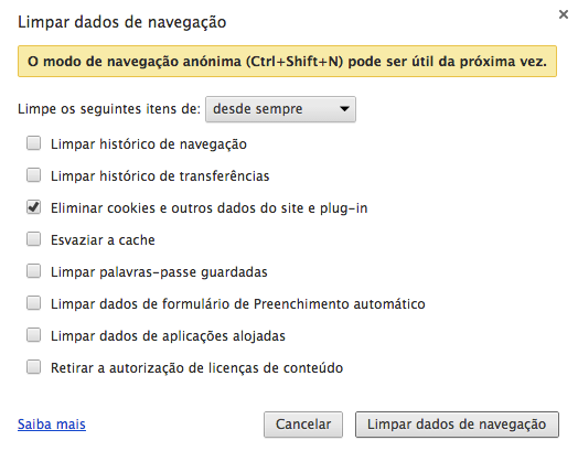 Limpar cookies no Google Chrome